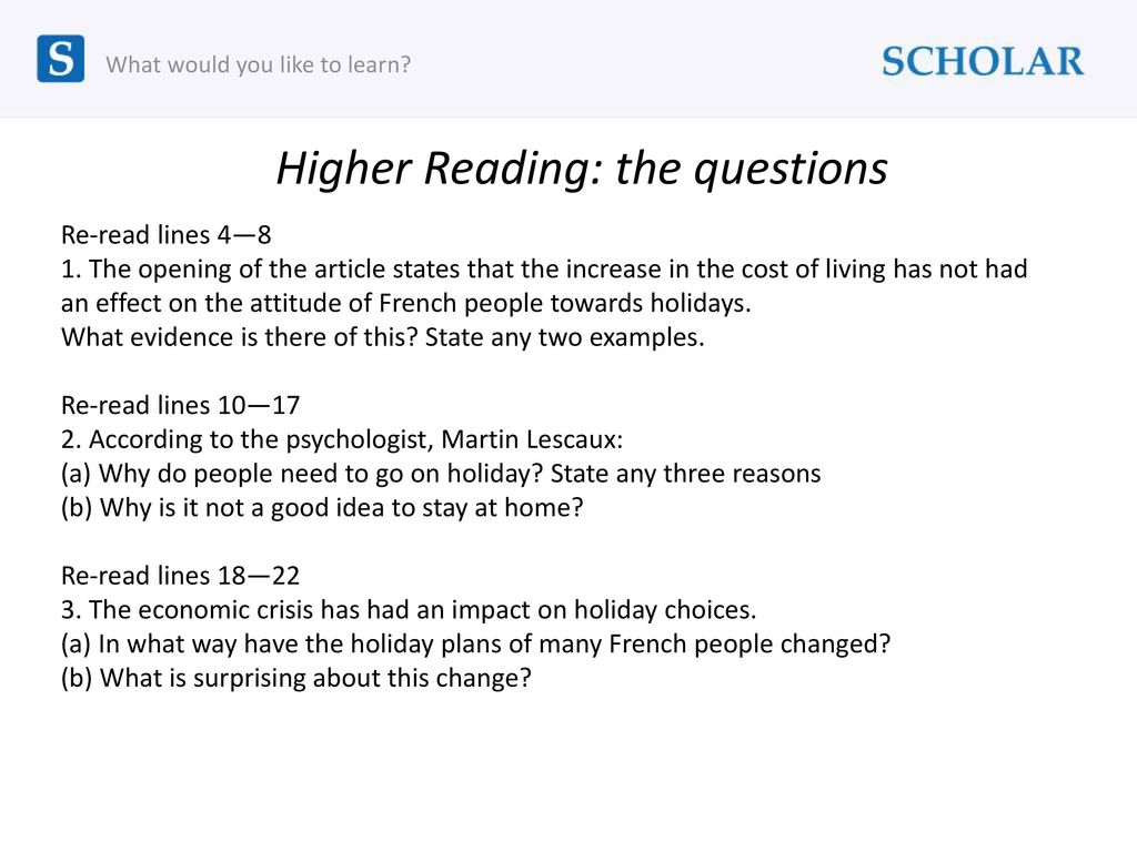 Higher Reading: the questions