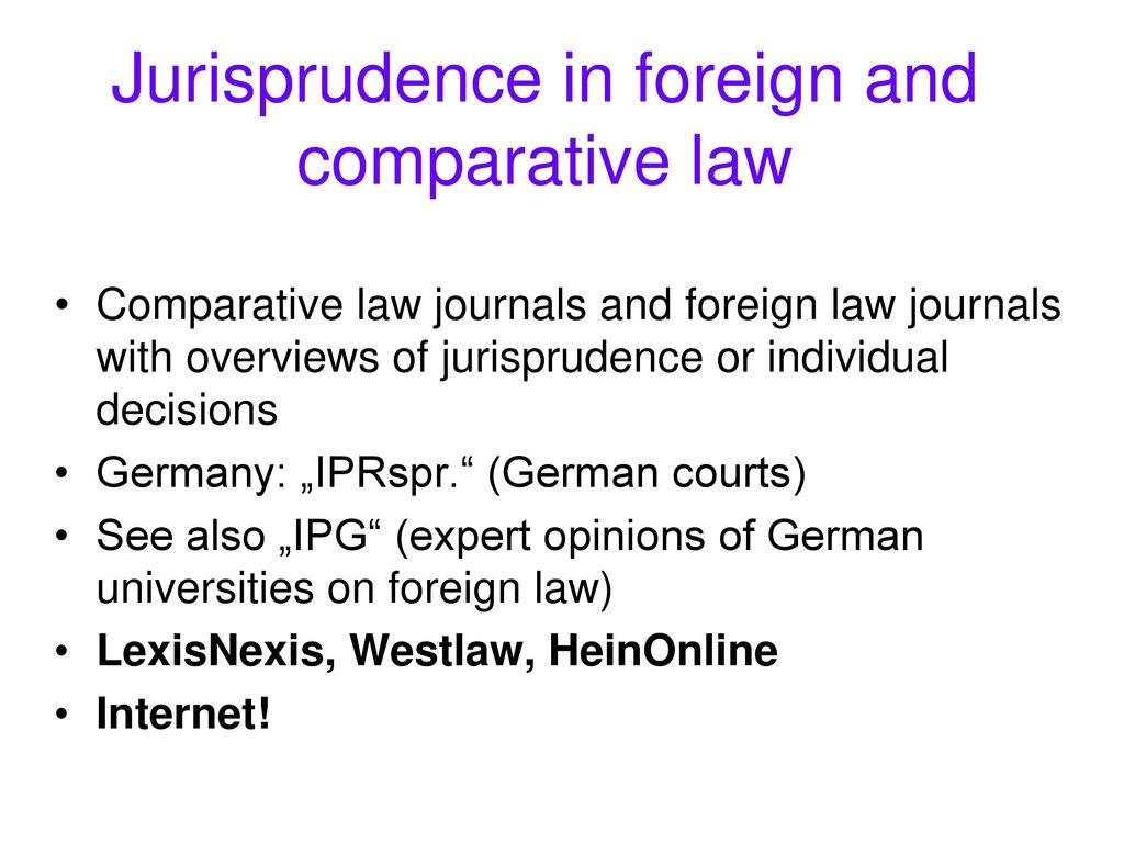 Jurisprudence in foreign and comparative law