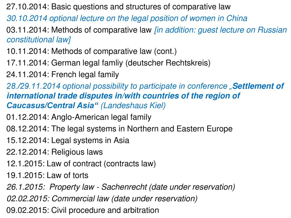 27.10.2014: Basic questions and structures of comparative law