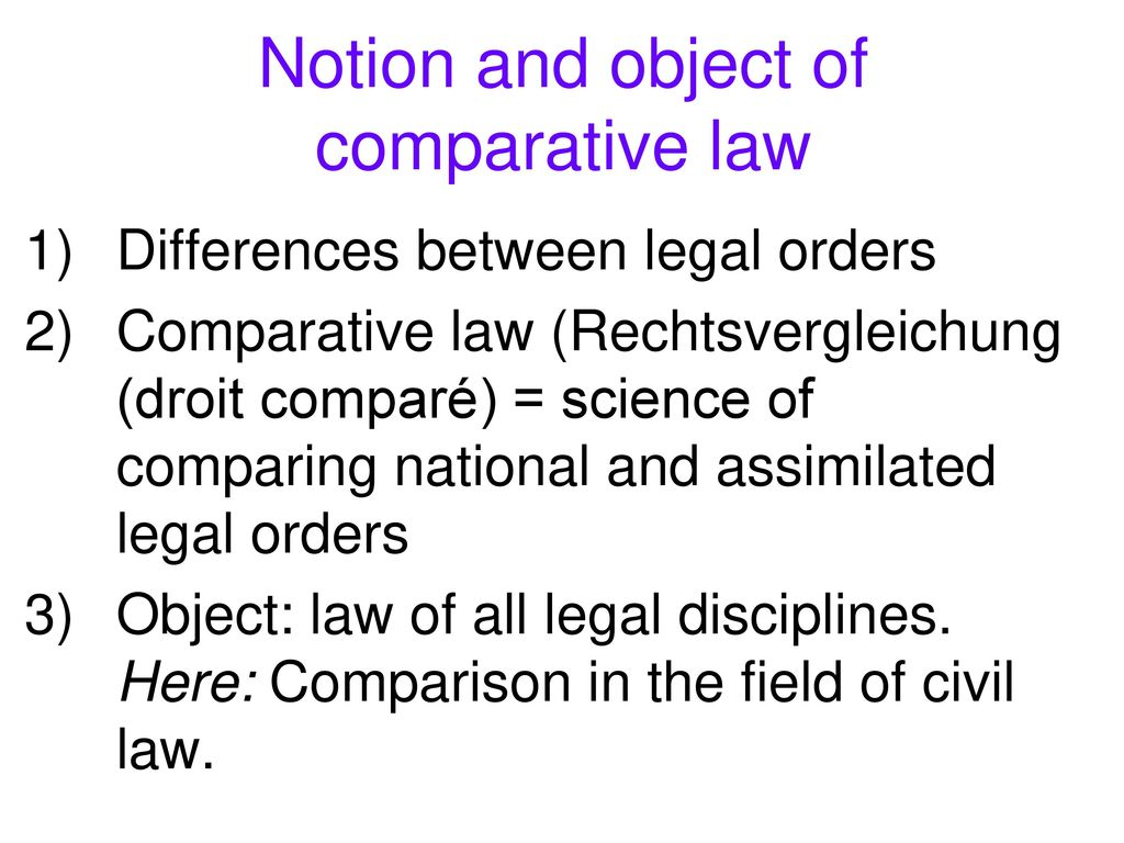Notion and object of comparative law