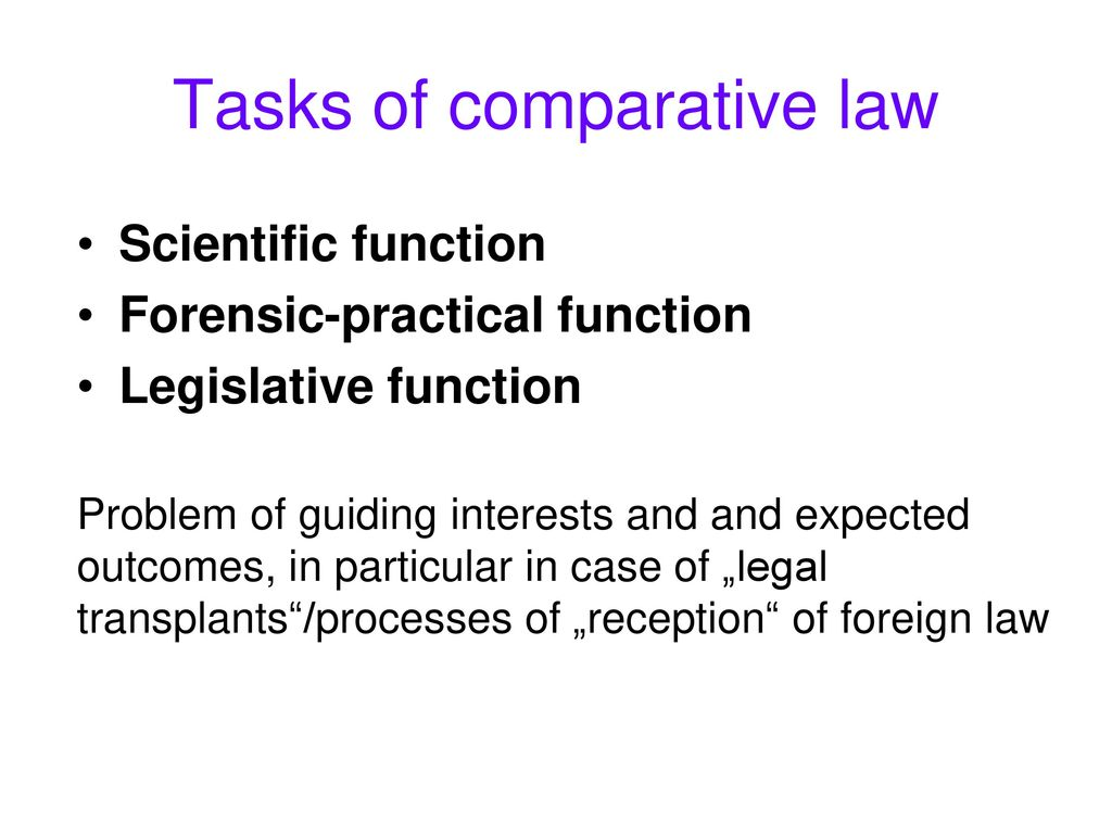 Tasks of comparative law