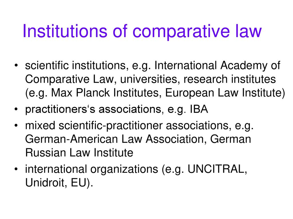 Institutions of comparative law