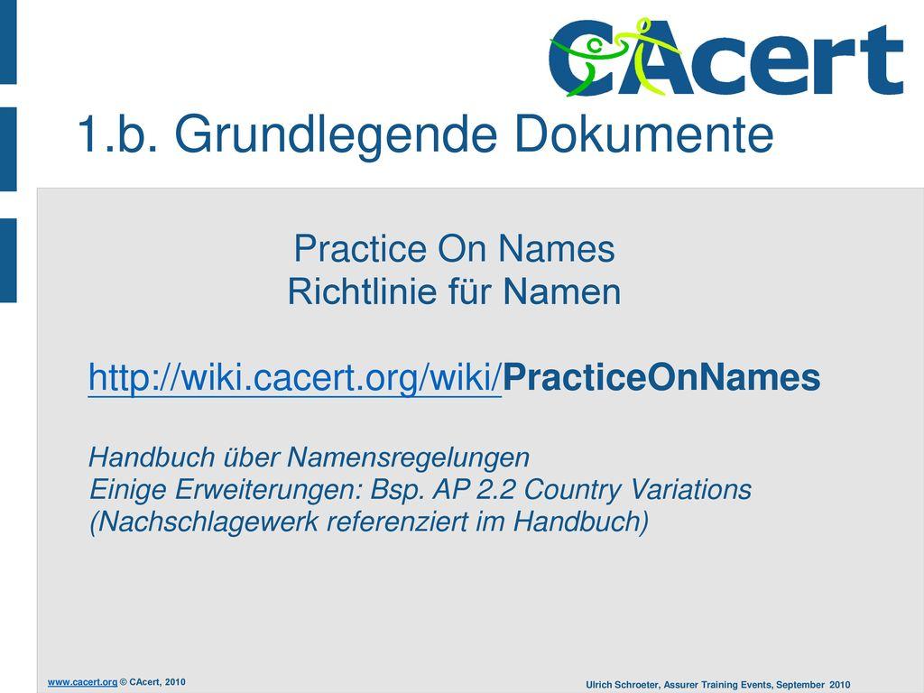 Practice On Names Richtlinie für Namen
