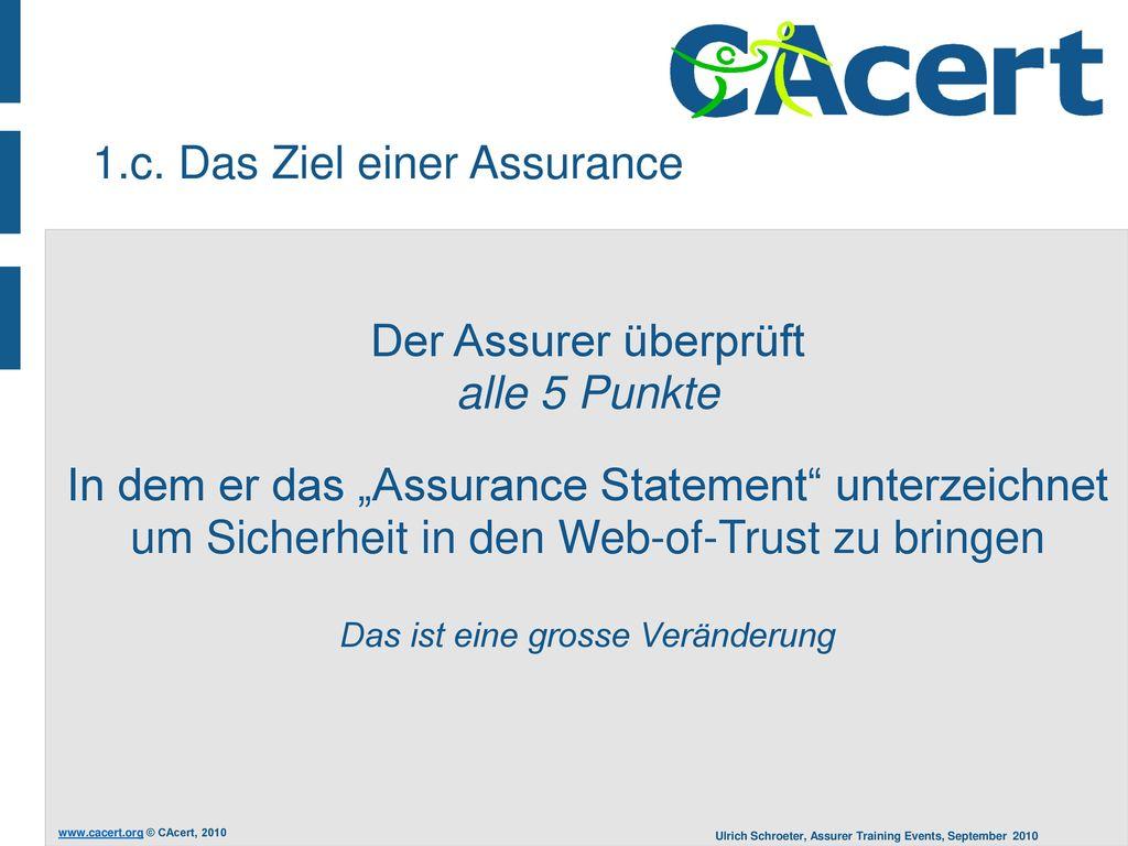 1.c. Das Ziel einer Assurance