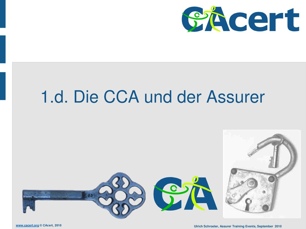 1.d. Die CCA und der Assurer