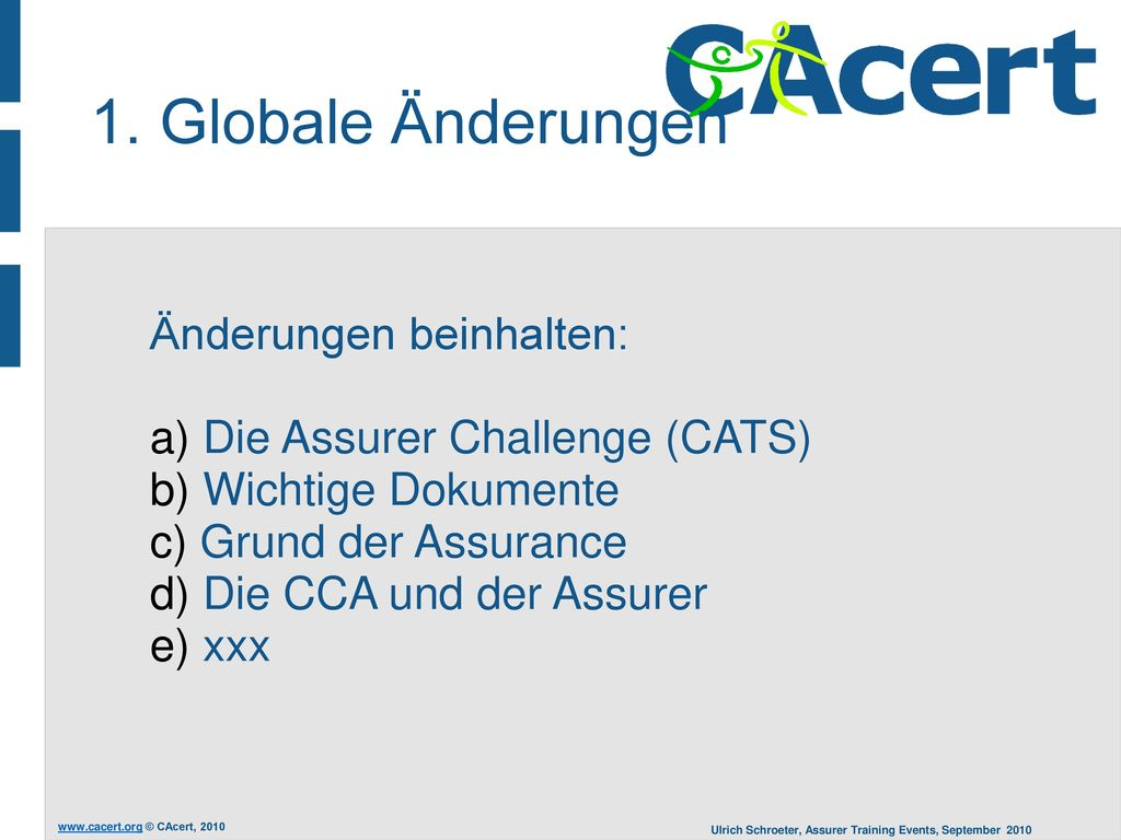 1. Globale Änderungen Änderungen beinhalten: