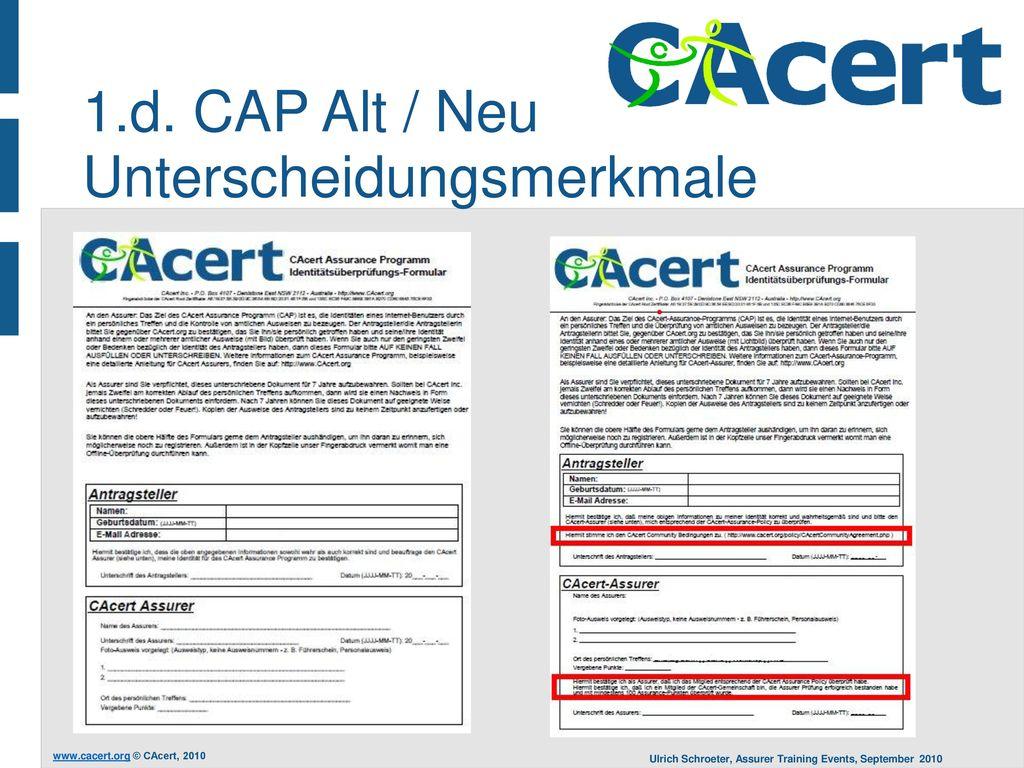 1.d. CAP Alt / Neu Unterscheidungsmerkmale