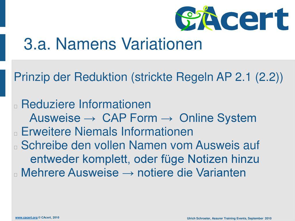3.a. Namens Variationen Prinzip der Reduktion (strickte Regeln AP 2.1 (2.2)) Reduziere Informationen Ausweise → CAP Form → Online System.