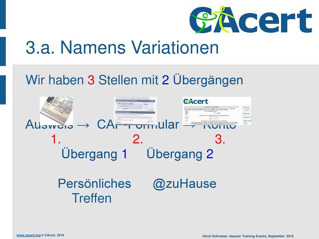 3.a. Namens Variationen Wir haben 3 Stellen mit 2 Übergängen