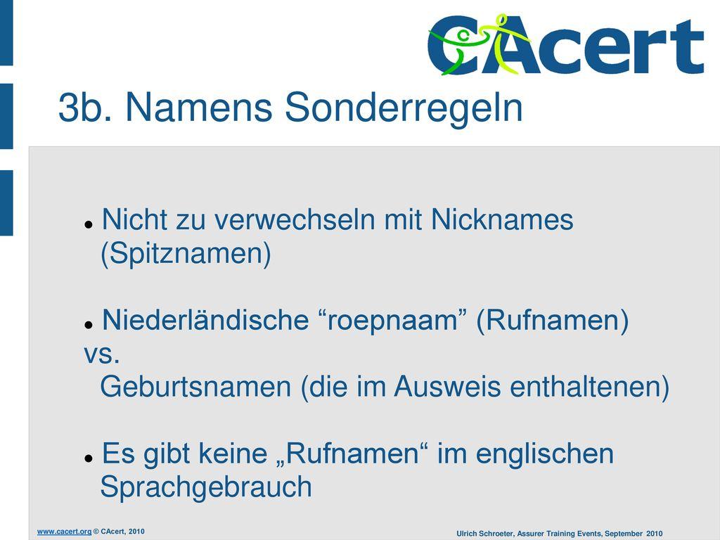 3b. Namens Sonderregeln Nicht zu verwechseln mit Nicknames (Spitznamen)