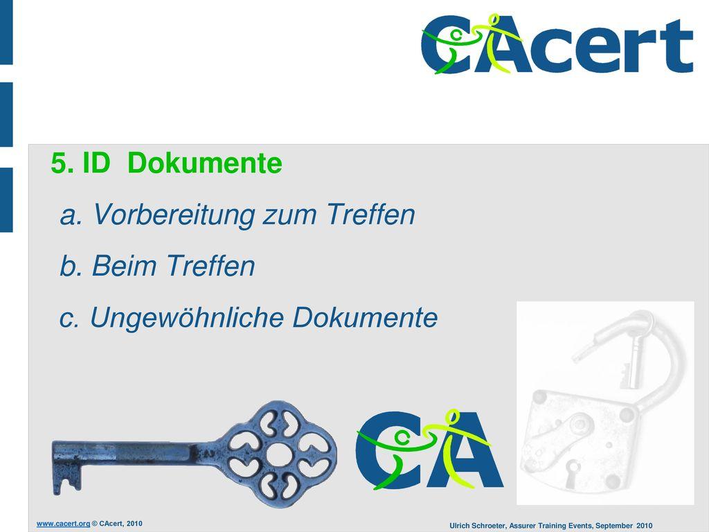 5. ID Dokumente a. Vorbereitung zum Treffen b. Beim Treffen c