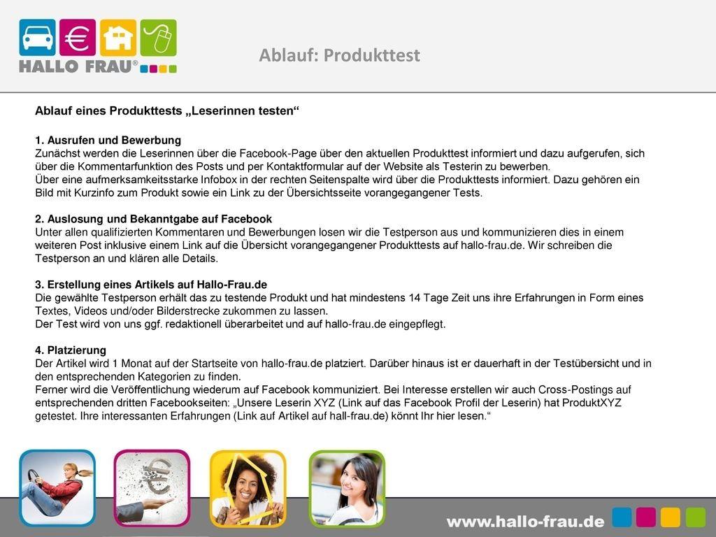 """Ablauf: Produkttest Ablauf eines Produkttests """"Leserinnen testen"""