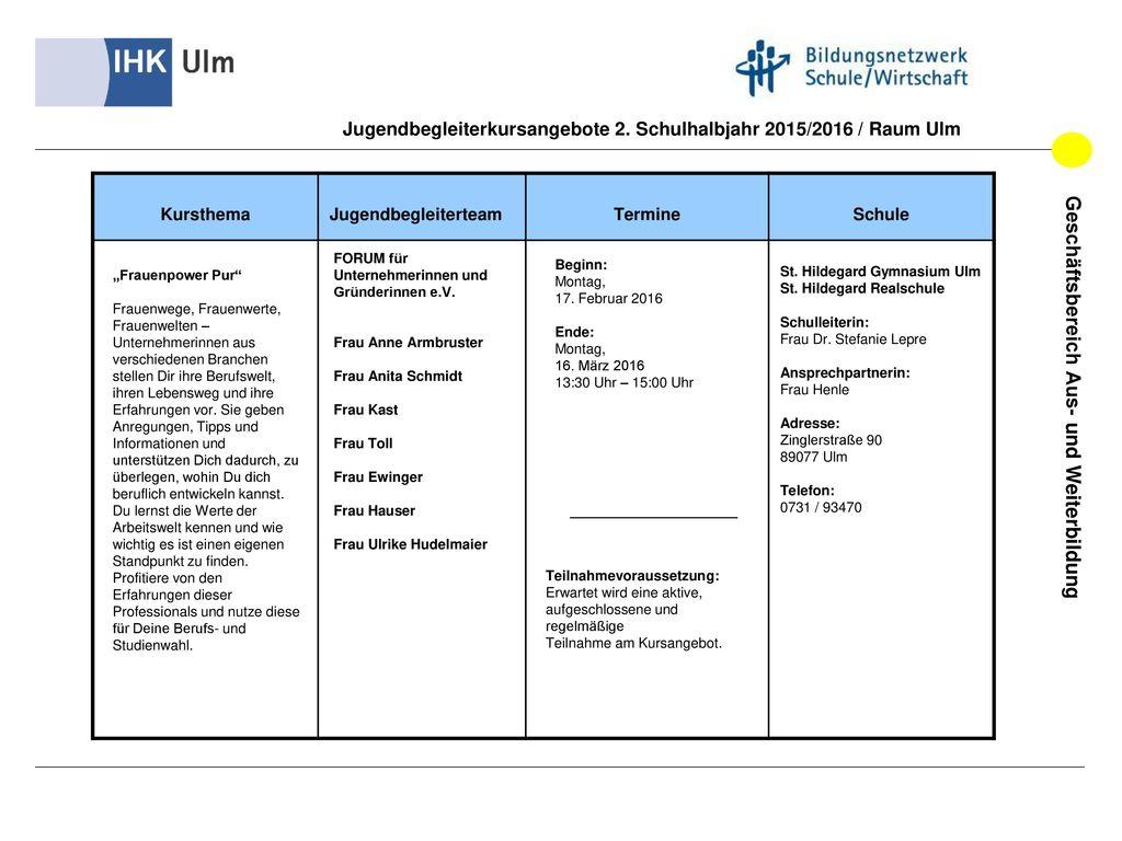 Jugendbegleiterkursangebote 2. Schulhalbjahr 2015/2016 / Raum Ulm