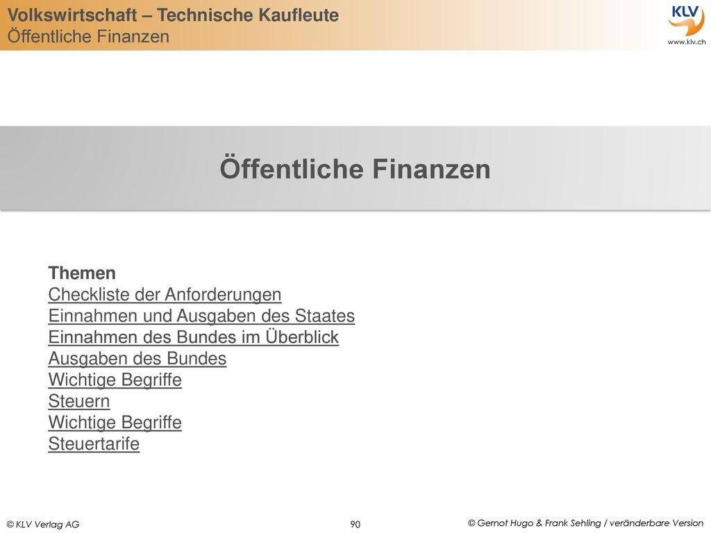 Öffentliche Finanzen Themen Checkliste der Anforderungen