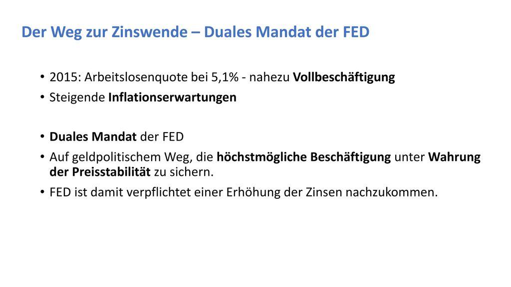 Der Weg zur Zinswende – Duales Mandat der FED