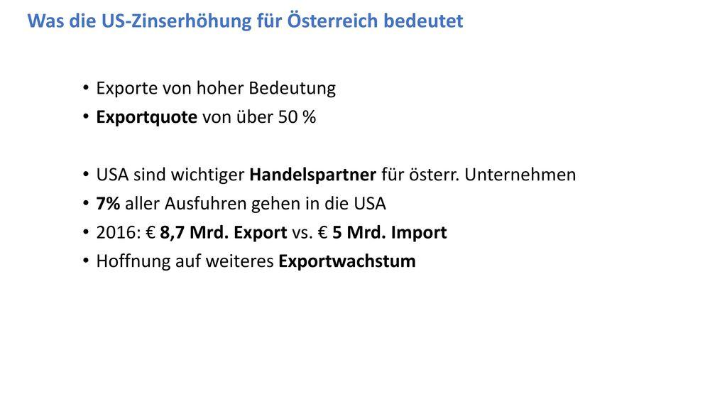 Was die US-Zinserhöhung für Österreich bedeutet