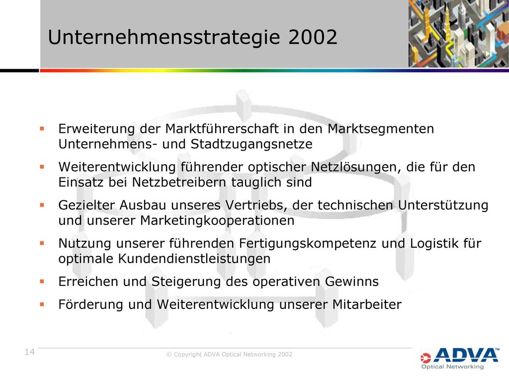 Unternehmensstrategie 2002