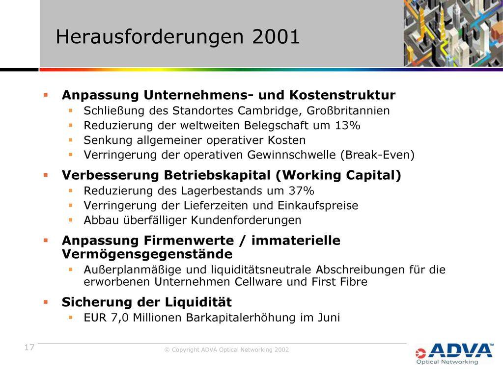 Herausforderungen 2001 Anpassung Unternehmens- und Kostenstruktur