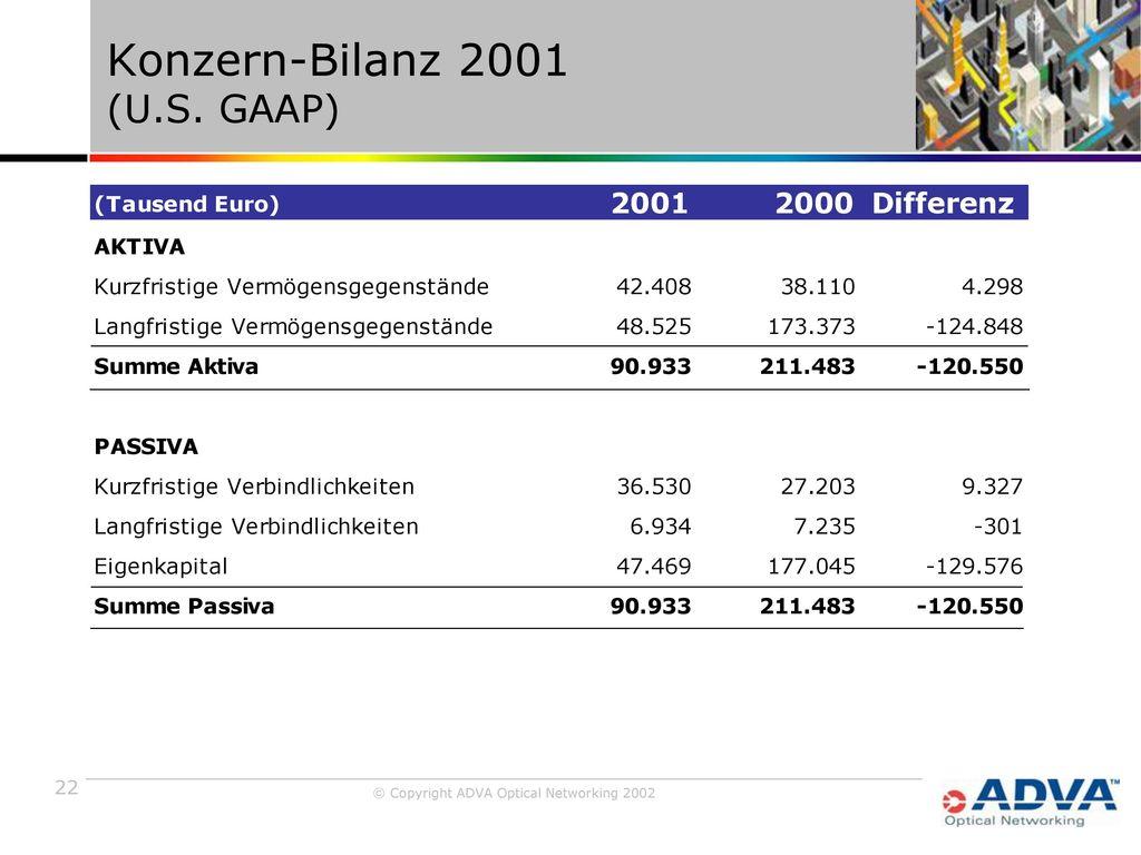 Konzern-Bilanz 2001 (U.S. GAAP)