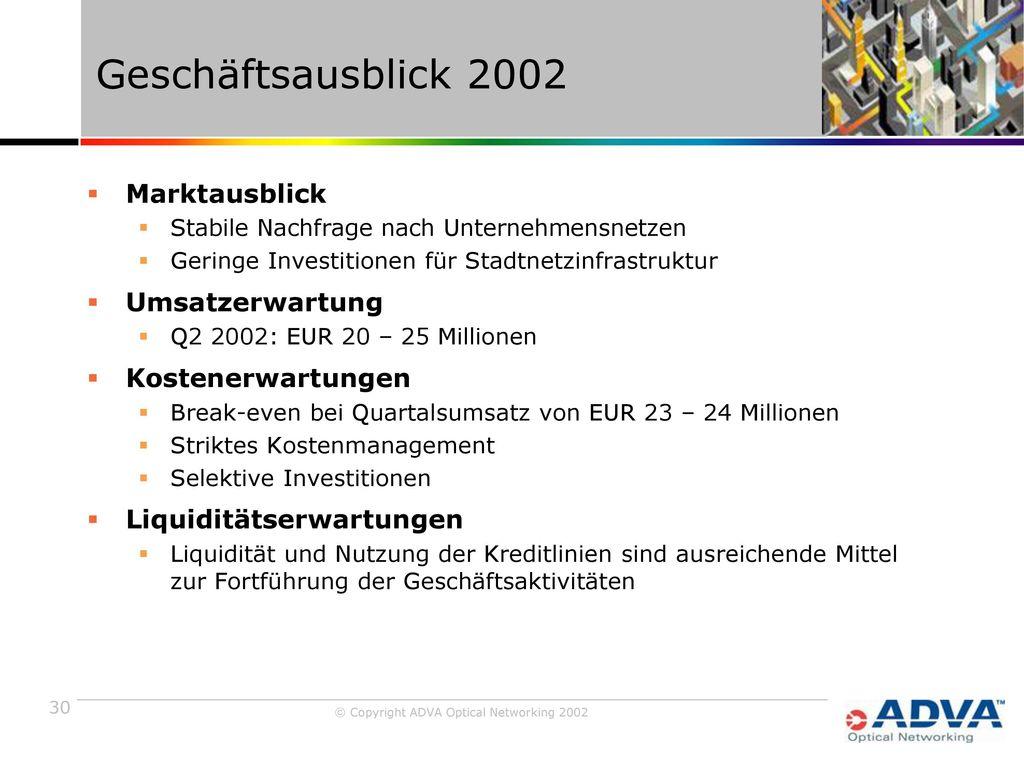 Geschäftsausblick 2002 Marktausblick Umsatzerwartung Kostenerwartungen