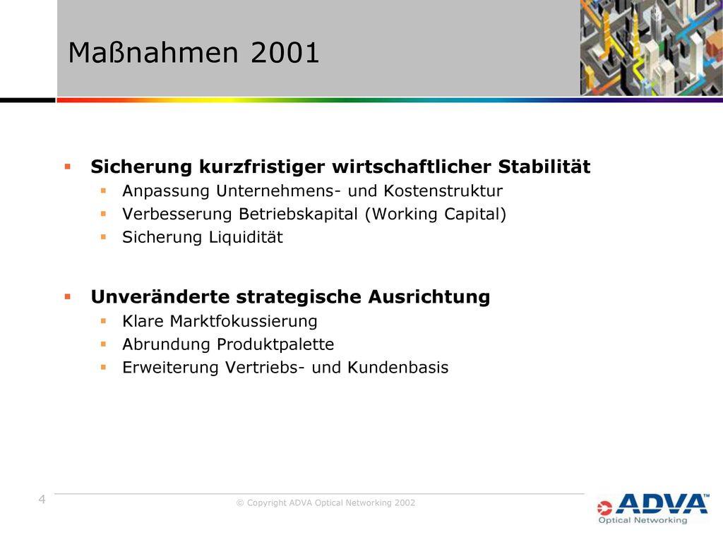 Maßnahmen 2001 Sicherung kurzfristiger wirtschaftlicher Stabilität