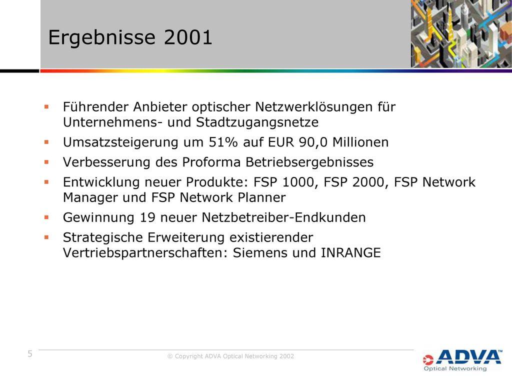 Ergebnisse 2001 Führender Anbieter optischer Netzwerklösungen für Unternehmens- und Stadtzugangsnetze.