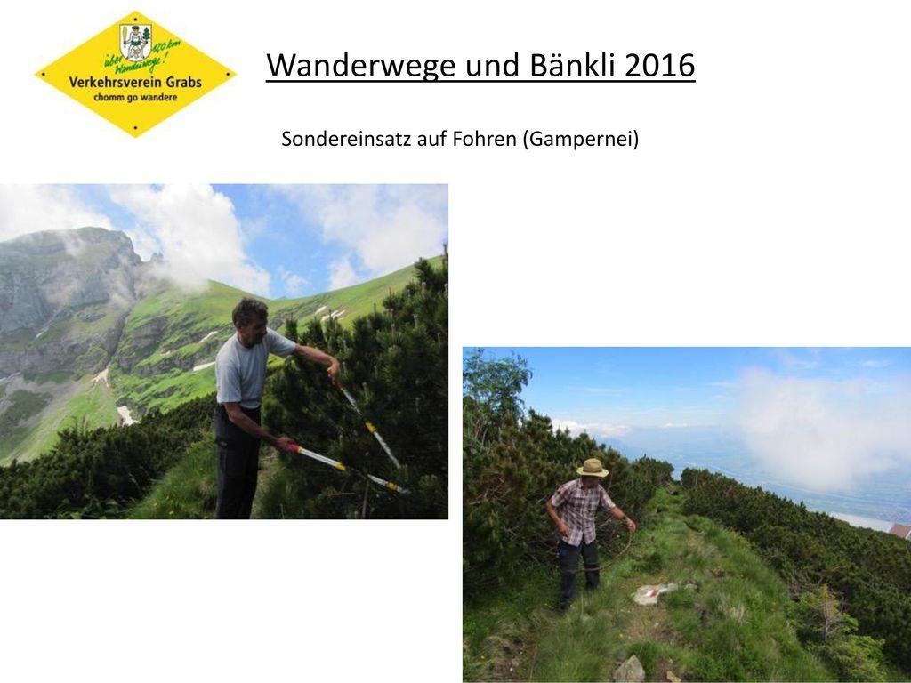 Wanderwege und Bänkli 2016 Sondereinsatz auf Fohren (Gampernei)