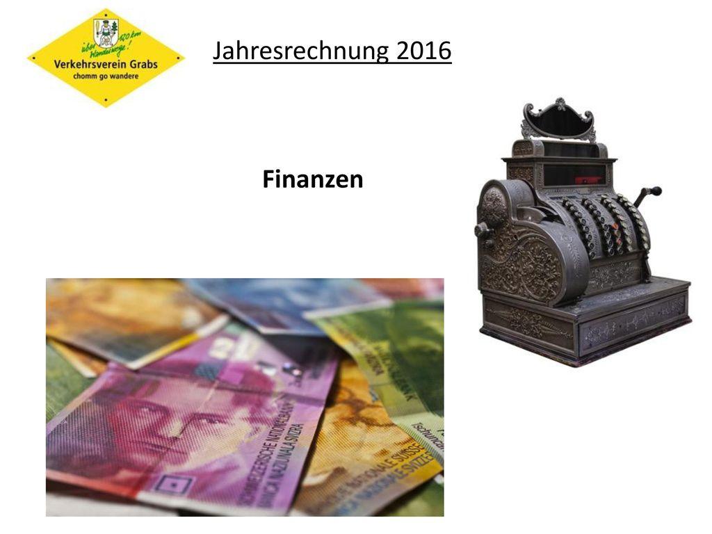 Jahresrechnung 2016 Finanzen