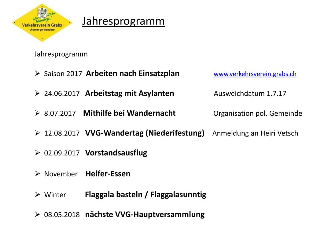 Jahresprogramm Jahresprogramm