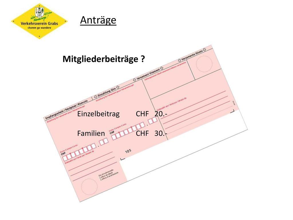 Anträge Mitgliederbeiträge Einzelbeitrag CHF 20.- Familien CHF 30.-