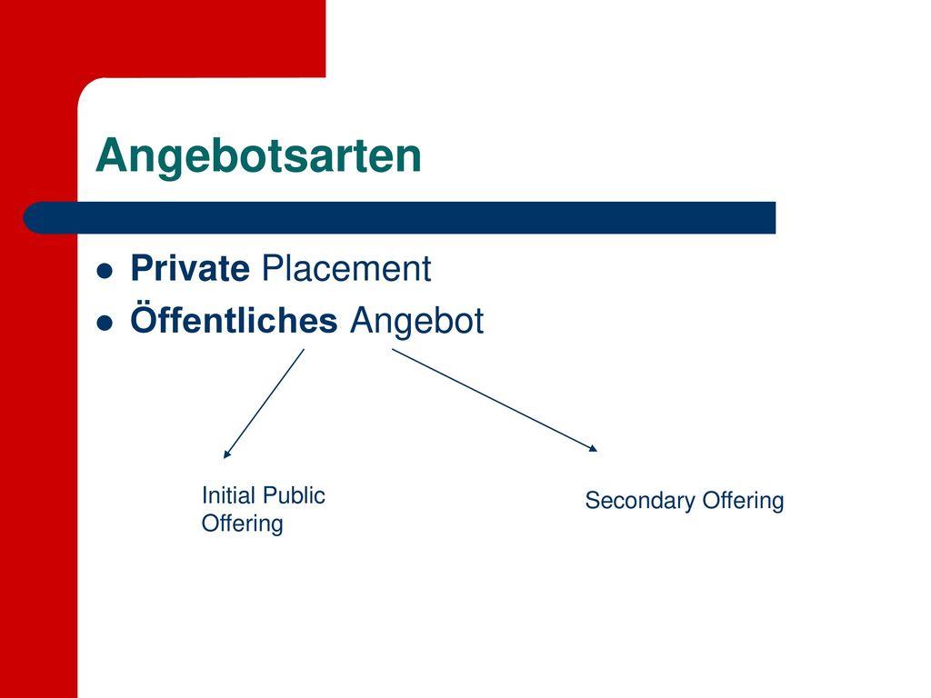 Angebotsarten Private Placement Öffentliches Angebot Initial Public