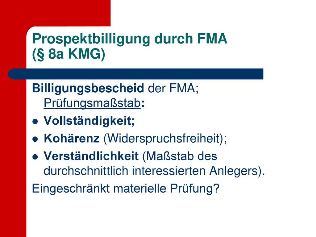 Prospektbilligung durch FMA (§ 8a KMG)