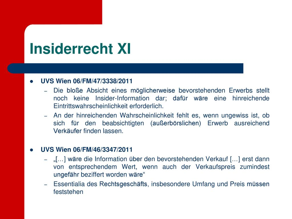 Insiderrecht XI UVS Wien 06/FM/47/3338/2011