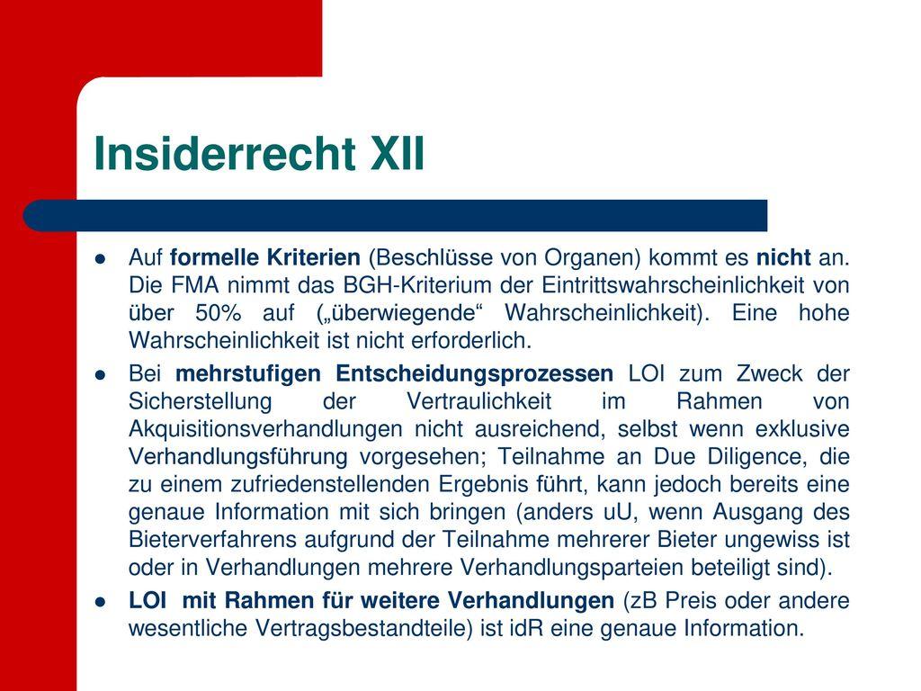 Insiderrecht XII