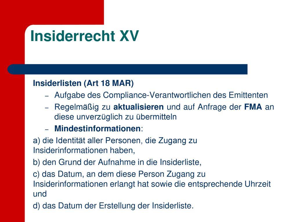 Insiderrecht XV Insiderlisten (Art 18 MAR)
