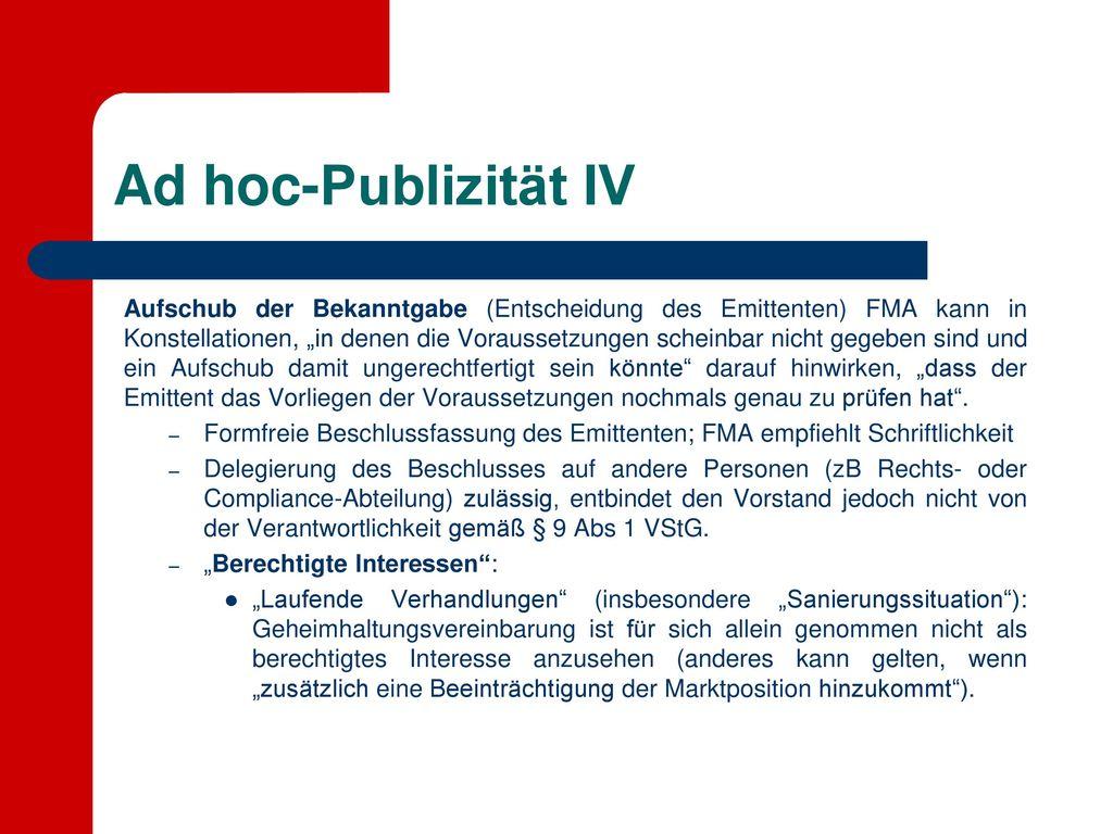 Ad hoc-Publizität IV