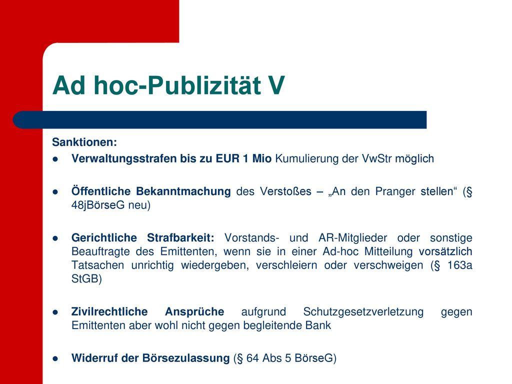 Ad hoc-Publizität V Sanktionen: