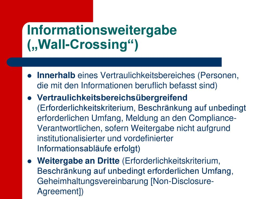 """Informationsweitergabe (""""Wall-Crossing )"""