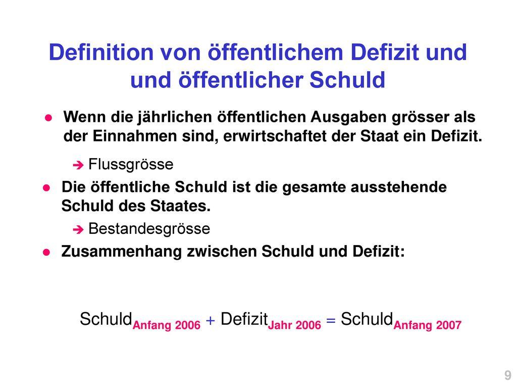 Definition von öffentlichem Defizit und und öffentlicher Schuld