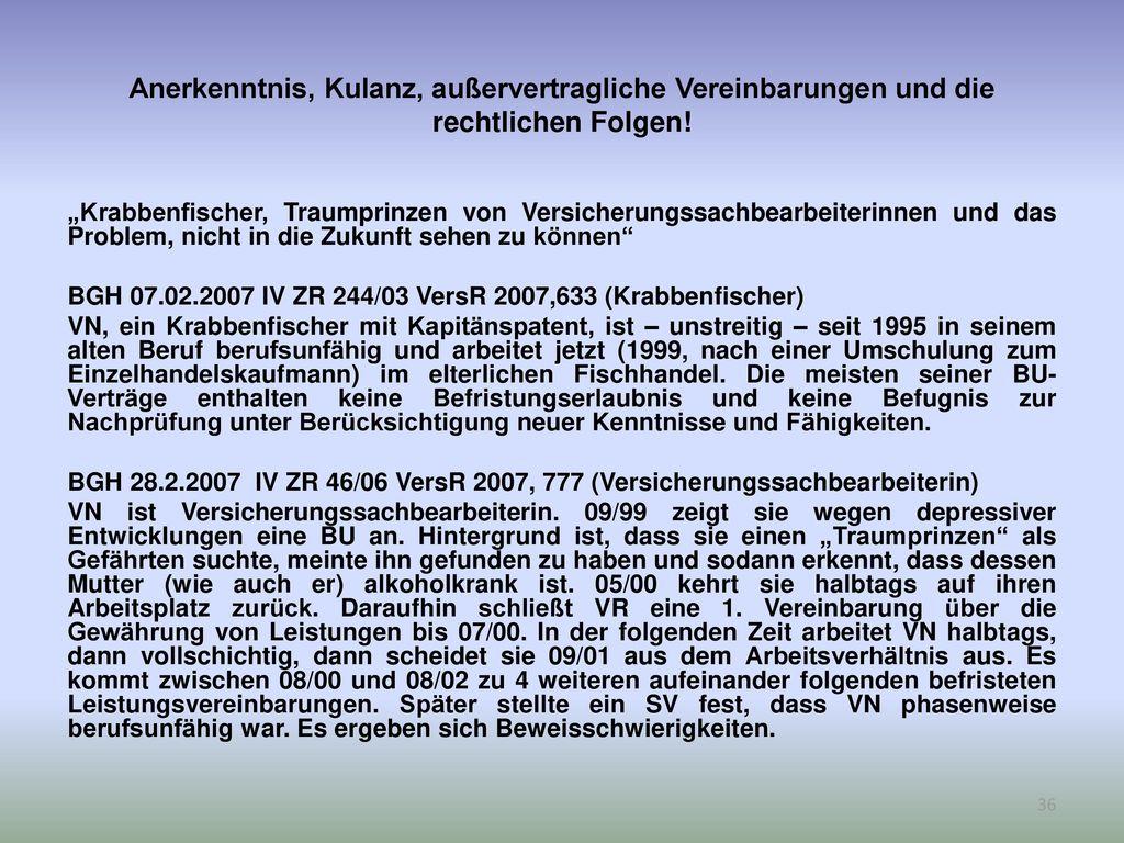 Anerkenntnis, Kulanz, außervertragliche Vereinbarungen und die rechtlichen Folgen!