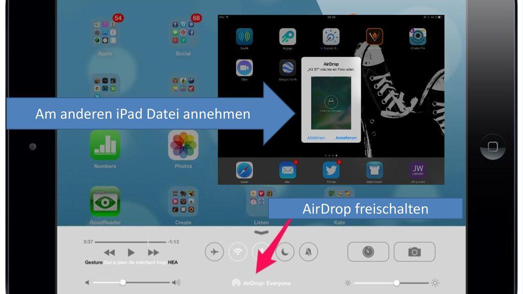 Am anderen iPad Datei annehmen