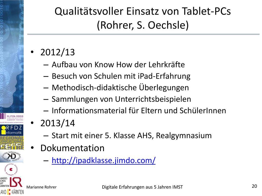 Qualitätsvoller Einsatz von Tablet-PCs (Rohrer, S. Oechsle)