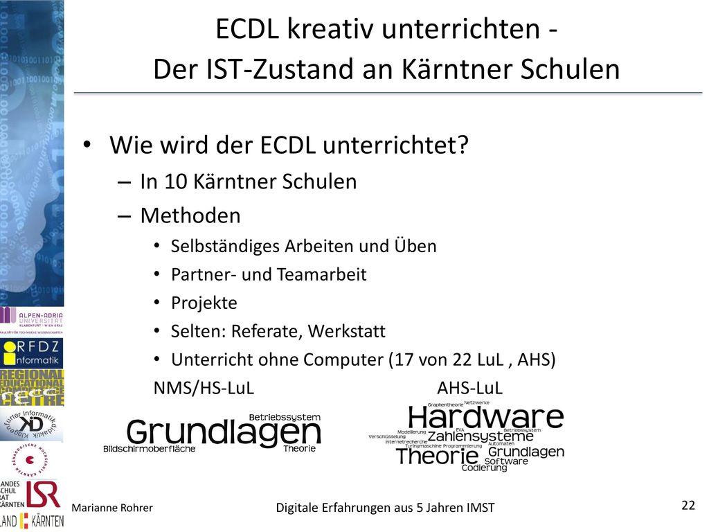 ECDL kreativ unterrichten - Der IST-Zustand an Kärntner Schulen