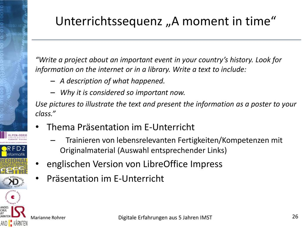 "Unterrichtssequenz ""A moment in time"