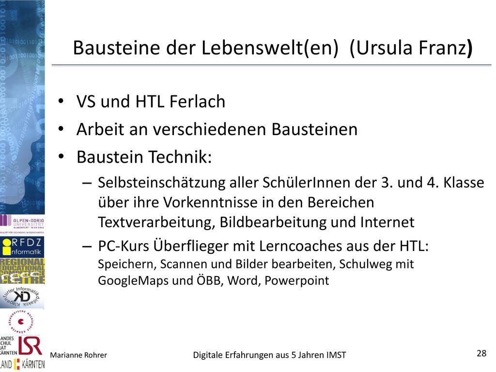Bausteine der Lebenswelt(en) (Ursula Franz)