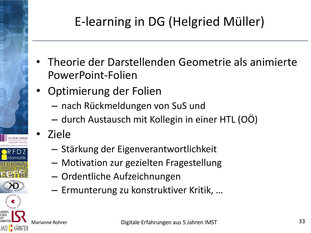 E-learning in DG (Helgried Müller)