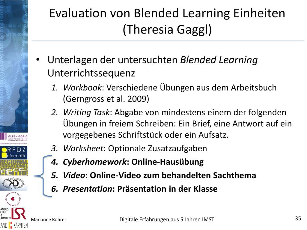 Evaluation von Blended Learning Einheiten (Theresia Gaggl)