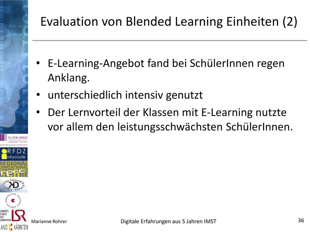Evaluation von Blended Learning Einheiten (2)