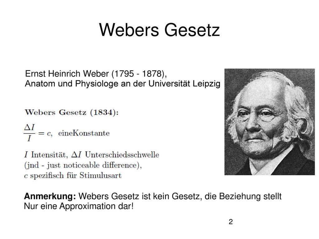 Webers Gesetz Ernst Heinrich Weber (1795 - 1878),