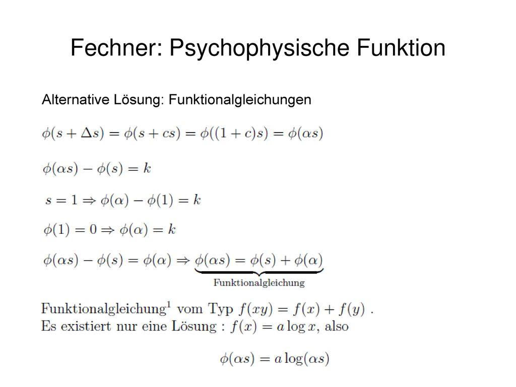 Fechner: Psychophysische Funktion